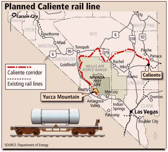 the department of energy selected the caliente rail corridor as its  preferred route to bring nuclear waste into nevada and to yucca mountain